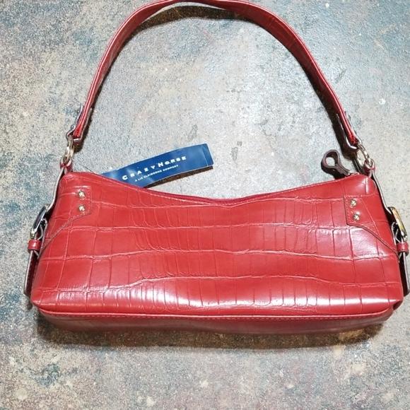 Liz Claiborne Handbags - Crazy Horse Liz Claiborne Crimson Embossed Handbag